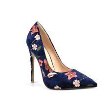 Womens Pointed Toe Slip On Floral Pumps Slim High Heels Elegant Shoes Us 4.5-10