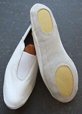 Cuir blanc de gymnastique chaussures pantoufles trampolining training dance avec semelle rembourée