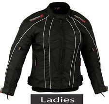 Noir FEMMES MOTO VESTE MOTO MOTARD protection Revêtement Imperméable