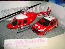 PEUGEOT 207 VSAV 1/43 + HELICOPTERE SAPEURS POMPIERS