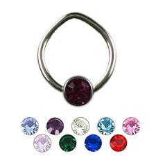 1,0mm TITAN Spezial Lippenbändchen Ring mit Flatback Kristall Kugel K:3 oder 4mm