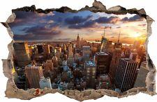WANDAUFKLEBER Loch in der Wand 3D City NEW YORK NY Dekor Aufkleber Wandtattoo 31