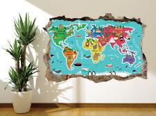 Colore per bambini Mappa del mondo educativo Muro Adesivo Murale Parete (37436572)