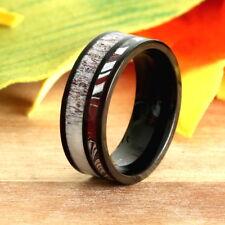 Black Stainless Steel Wedding Band Natural Deer Antler and Fordite Ring