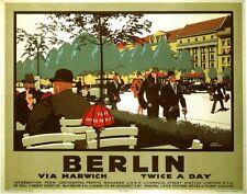 VINTAGE LNER Berlino tramite Harwich ferroviaria POSTER A3 stampa