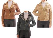 mujer chaqueta de motorista piel sintética Balzer cuero imitación REMACHES