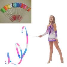 Rhythmic Gymnastics Dance Art Ribbon Streamer Baton Twirling Rod Stick 2M/4M