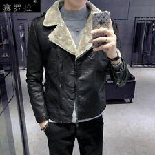 Men's Motorcycle Faux Leather Jacket Zipper Slim Fit Coat Short Outwear Fleece