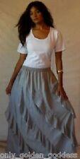 gray skirt long diagonal OSL XL 1X 2X 3X 4X 5X 6X ruffle asym