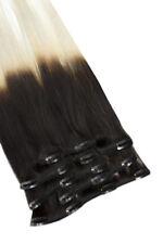 Clip-In Remy Echthaar Extensions Dip Dye- 10 teilig 100gr 50cm Ombre 1b/grau