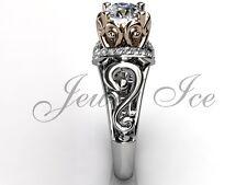 White and Rose Gold Forever One Moissanite Art Deco Engagement Ring ERMZ-1124-5