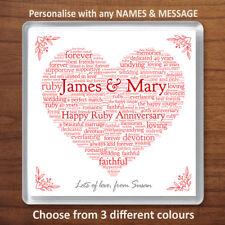 Personalised Ruby 40th Wedding Anniversary Gift Drinks Coaster Word Art Heart