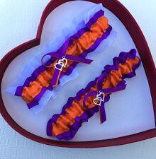 NEW Orange Purple White Bridal Wedding Garter SEL Single,Set,Reg,Plus Size**