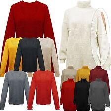 Womens Ladies Choker Rib Knit Metallic Loose Fit VNeck Jumper Sweater Top UK8-14