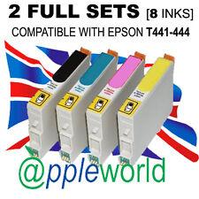 2 Set Completo De Cartuchos (8 Tintas) compatible con t441-444 [ No Epson Original ]