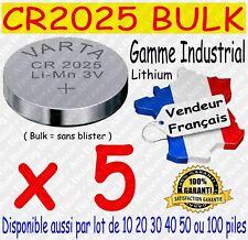 Lot de 5 piles VARTA CR2025 Lithium 3V ( DLU 2026 ) - Dispo aussi CR2016 CR2032