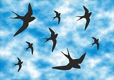 8 Stück Vögel Aufkleber - Wintergarten - Fenster - Warnvögel - Sticker  AN7