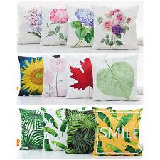Kissenbezug Satin Optik Blumen Blätter Natur Blüten 45x45cm mit Reißverschluss