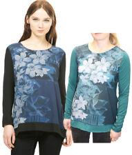 Desigual Long Sleeved Watercolour Floral Marino Top XS-XXL UK8-18 RRP?54