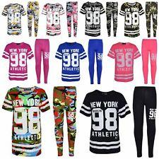 Girls NEW YORK BROOKLYN 98 ATHLECTIC Camouflage T Shirt Top Legging Set 7-13