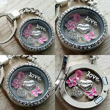 GIFT FOR GRANDMA NANA NAN - Personalised Keyring Necklace Floating Memory Locket