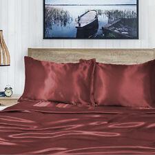 1000TC Silk Silky Feel S/KS/Double/Queen/King Fitted,Flat Sheet Set-Burgundy