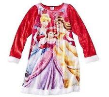 Disney Princess Ariel Belle Holiday Long Sleeve Nightgown Pajama Girl Size 4 6