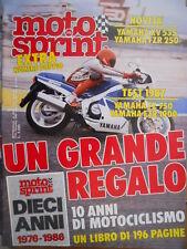 Motosprint 51/52 1986 Novità Yamaha XV 535, Yamaha FZR 250. Test '87 Yamaha 750