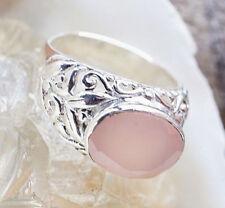Breit Silberring 57 59 Rosenquarz Oval Quer Handarbeit Silber Ring Verspielt
