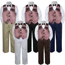 4pc Boy Baby Toddler Kid Brown Vest Bow Tie Formal Pants Set Suit sz S-7