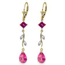 Natural Pink Topaz Gems & Diamonds Chandelier Leverback Earrings 14K. Solid Gold