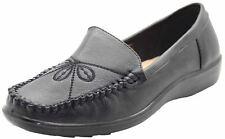 Neuf Femme Noir Mocassins Décontracté Confortable Cuissard Travail Chaussures