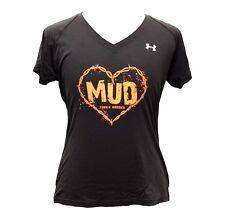 Under Armour Heat Gear Tough Mudder Gym Exercise V Neck T Shirt Top Womens U T50
