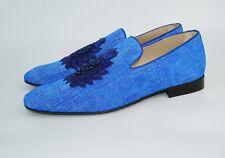 Donald J Pliner Men's PAZANOSP Embellished Crest Linen Loafer, Blue, MSRP $525