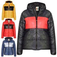 Niños Niña Panel De Contraste Chaqueta Capucha Acolchado Cálido abrigos 5-13
