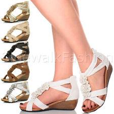 Womens ladies mid wedge heel strappy flower ruffle t-bar summer sandals size