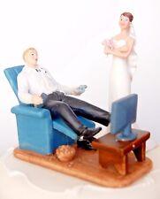 Crossed Bride standing & Gamer Groom sitting Couple Wedding Cake Topper RRP 30£