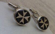 925 Sterling Silver Maltese Cross Solid Oval Cufflinks with Black/Blue Enamel