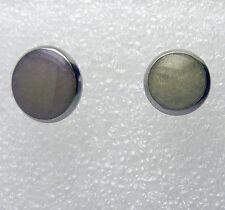 1 Paar Glitzer Edelstahl Ohrstecker rund Cabochon Ohrringe Ear Stud 6-20