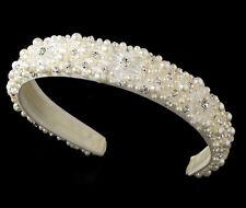 IVORY Bridal Headband w/ Swarovski Crystals Rhinestones Pearls &  Satin