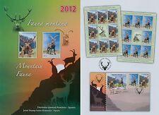 Rumänien 2012 Rumänien-Spanien,BERG-FAUNA,Hirsch Mi.6656-57,Zf.,KB,Block 544,FDC