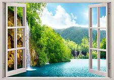 Nature Lake Waterfall 3D Effect Window Mountain View Sticker Wall Poster Vin 196