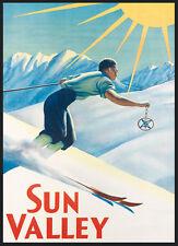 Ski Skiing Sun Valley Sunshine Idaho Winter Sport Vintage Poster Repro FREE SH