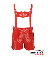 Women Oktoberfest Costume Authentic Leather Short Red Lederhosen Outfit