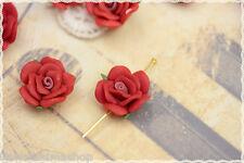 Rosa in fimo colore rosso  perla due fori laterali*FLOWER polymer clay red pearl