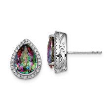 Silver W/ Rho-Pltd Polished Created Mystic Topaz & CZ Earrings (0.5IN x 0.4IN)