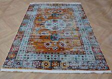 Modern Multi-Colour Carpet Aqua Orange Traditional Kilim Rug Silky Faded Design