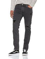 JACK & JONES Jeans Tim Slim Narrow Tapered Leg Denim Pants Grey Faded Vintage