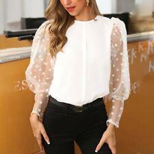 Fashion Womens Lantern Long Sleeve Perspective Dot Mesh T Shirt Tops Blouse vcc