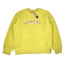 NWT Supreme NY Sulphur Green Polartec Deep Pile Arc Logo Sweatshirt DS AUTHENTIC